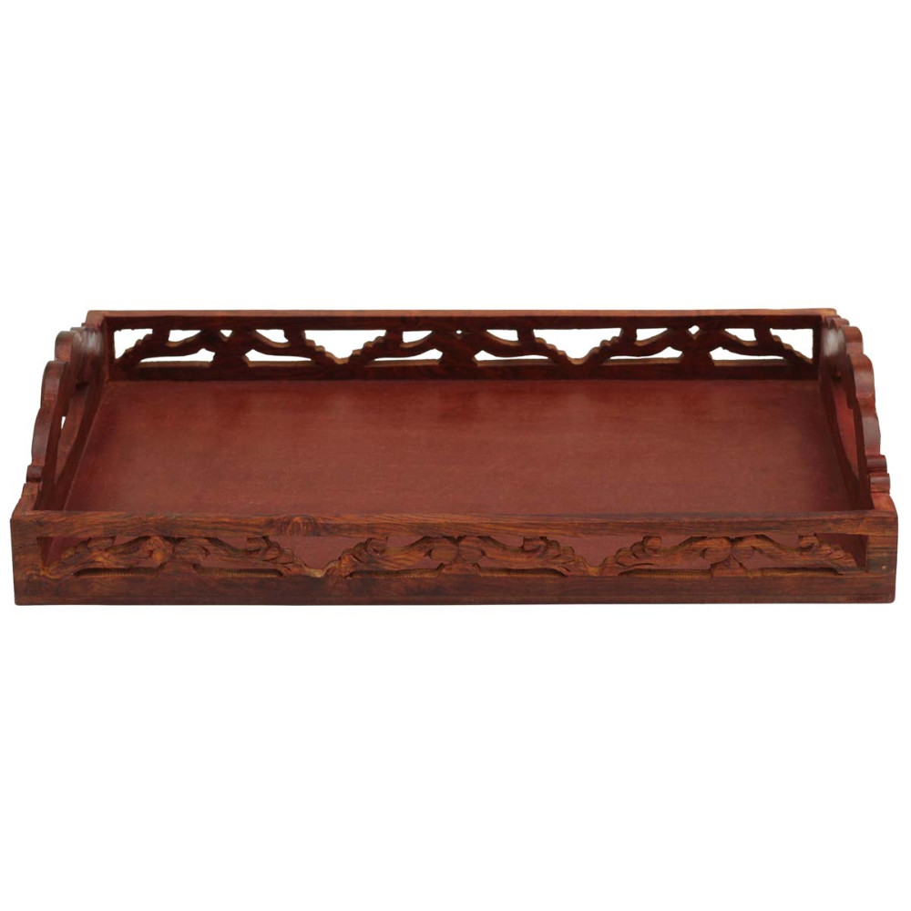 Benzara Carved Wooden Serving Tray With Handles, Brown