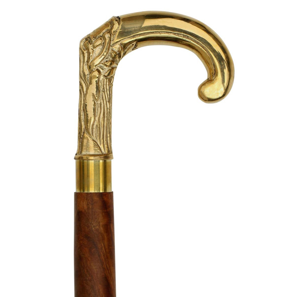 Benzara Wooden Walking Stick Cane With Elephant Trunk Brass Handle, Brown And Gold