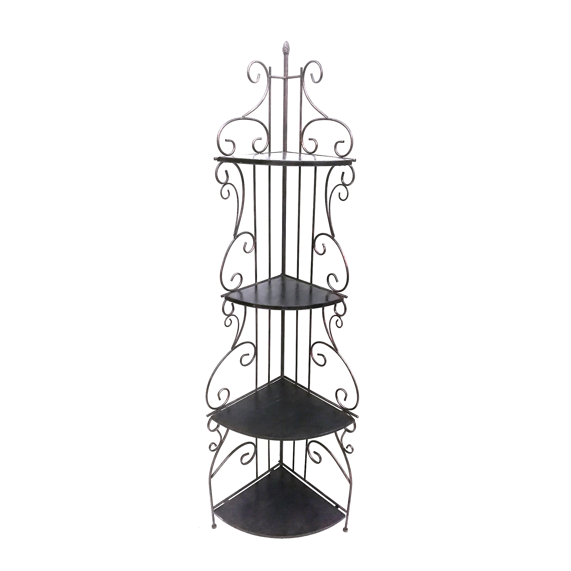 Scrollwork Design Metal Corner Bookcase with Four Wooden Shelves, Black and Copper