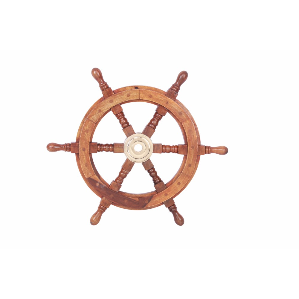 "18"" Teak Wood Ship Wheel with Brass Inset and Six Spokes, Brown and Gold"