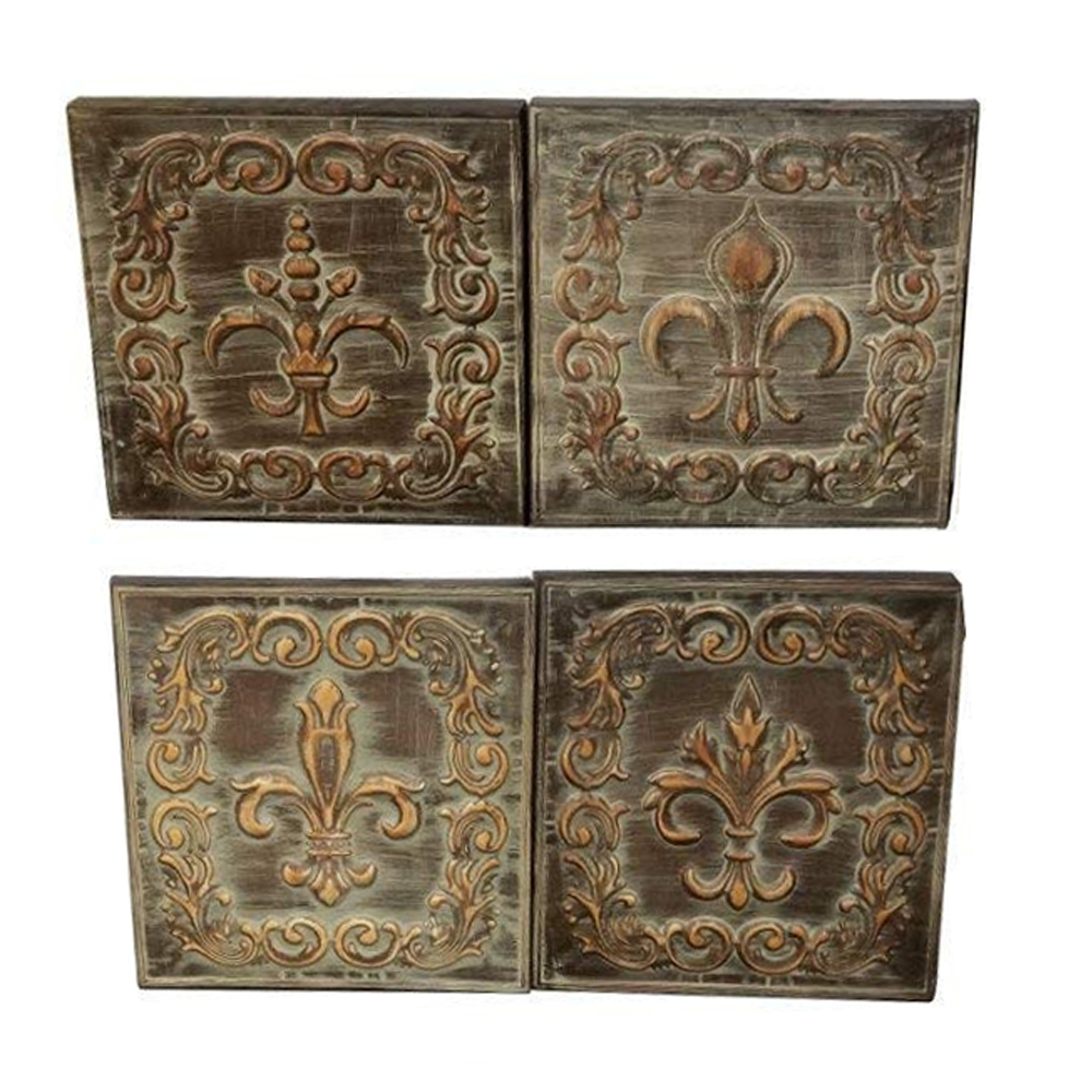 Distressed Metal Wall Decor With Filigree Carvings Set of 4
