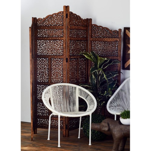 Hand Carved Foldable 4 Panel Wooden Partition Screen/RoomDivider, Brown