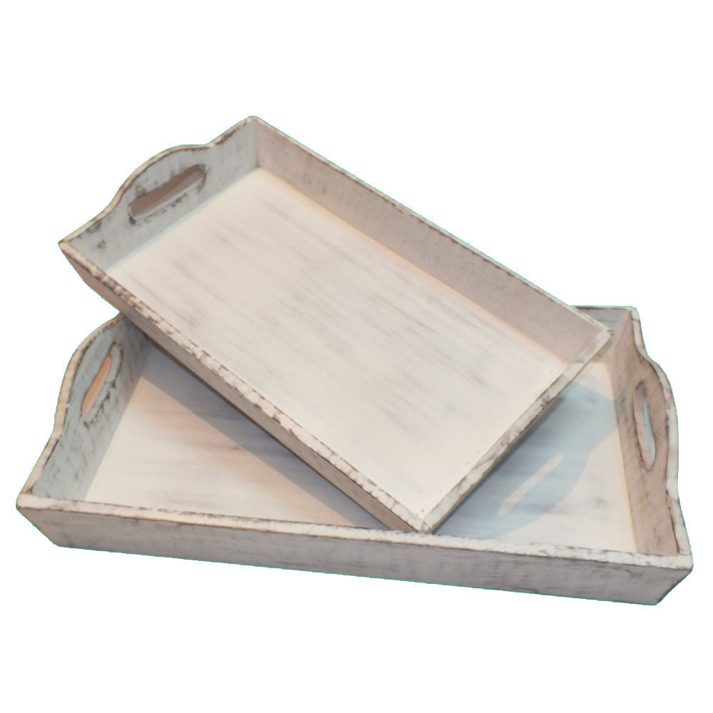 Distressed Wooden Finish Serving Trays With Handles, White, Set Of 2