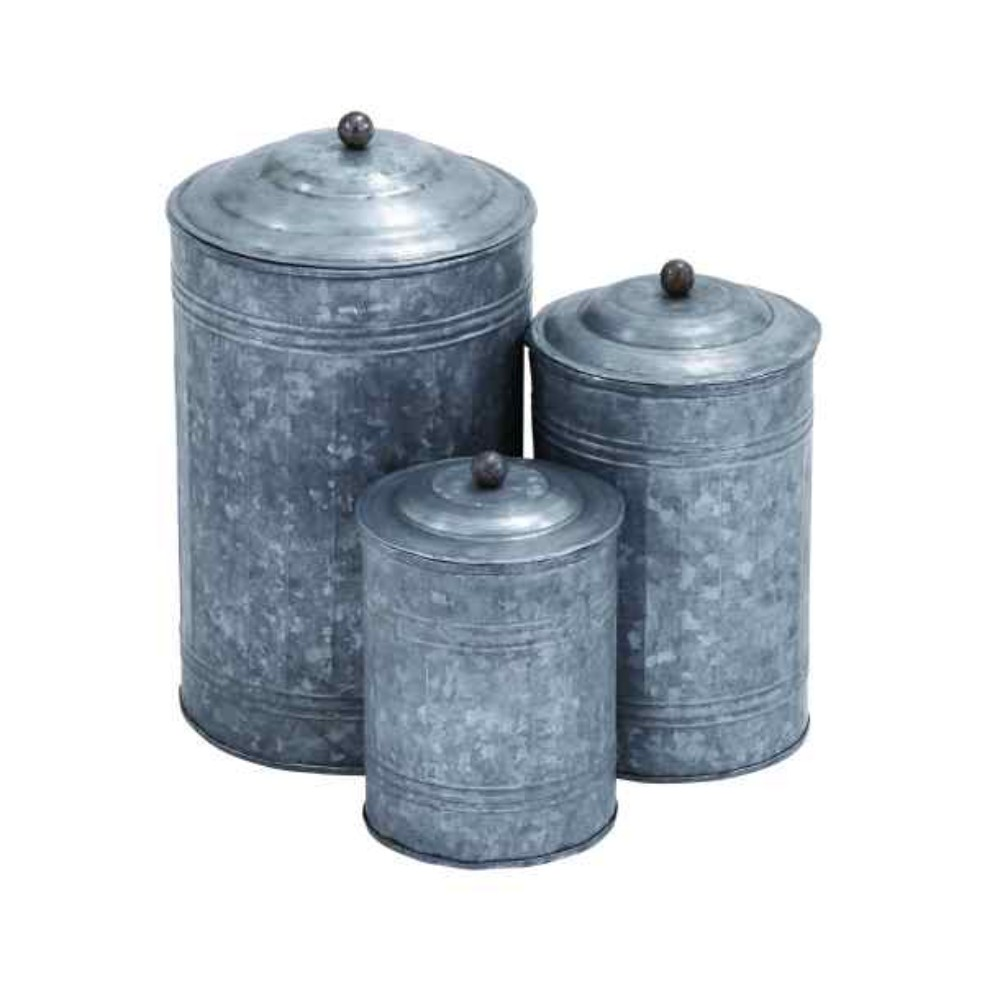 Rustic Metal Galvanized Canisters- Set of 3- Benzara