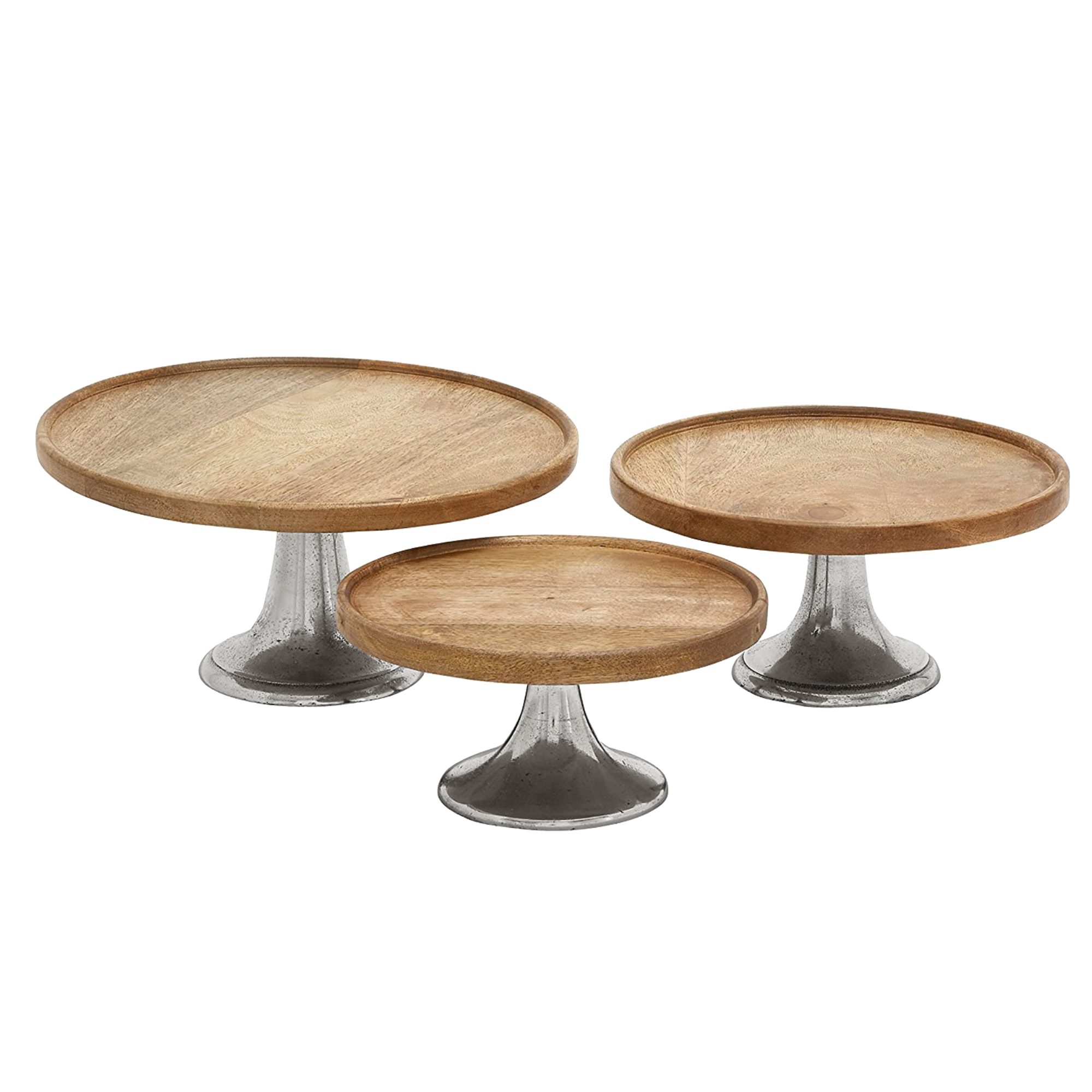 Round Wooden Cake Plate With Metal Base, Set Of Three, Brown And Silver