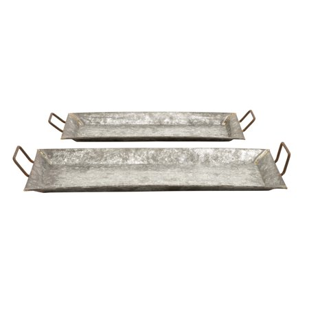 Decorative Metal Galvanized Trays - Set Of 2