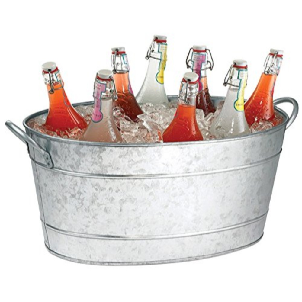Galvanized Beverage Tub With Handles, Gray