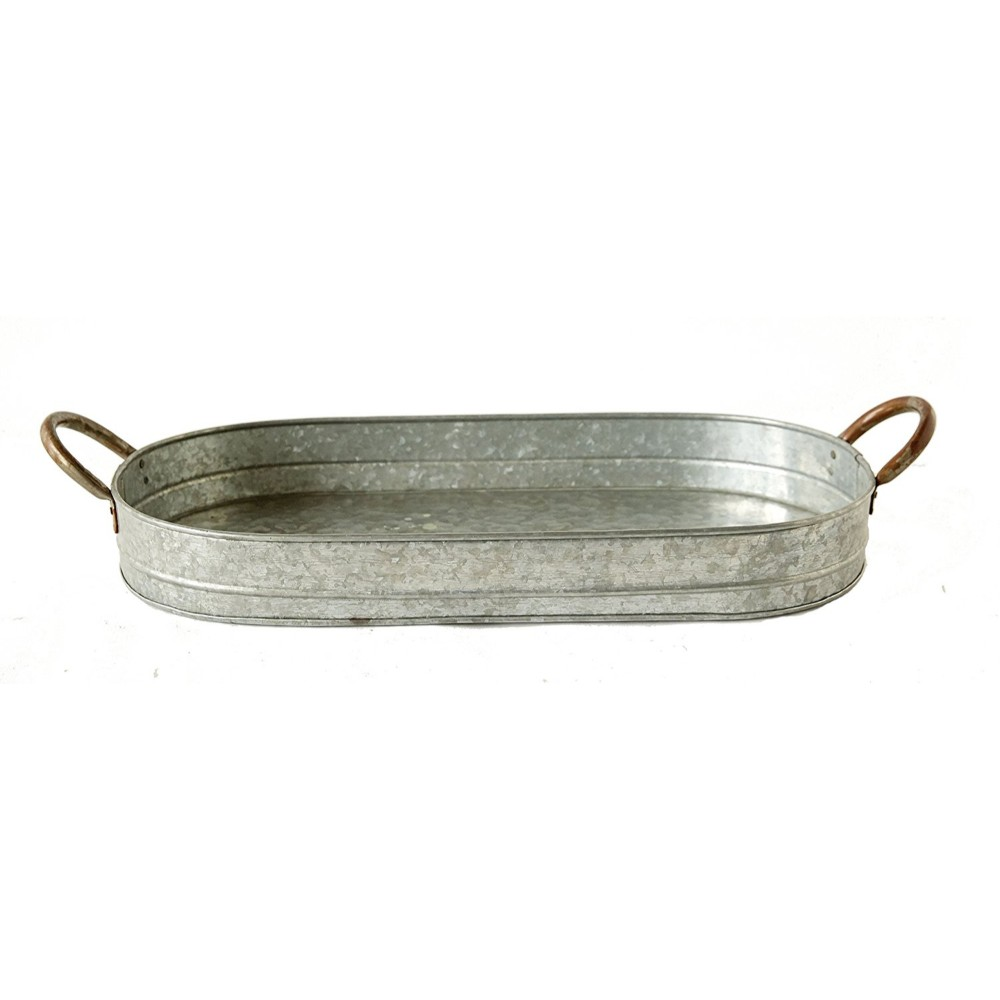 Galvanized Metal Tray With Ear Handles, Gray