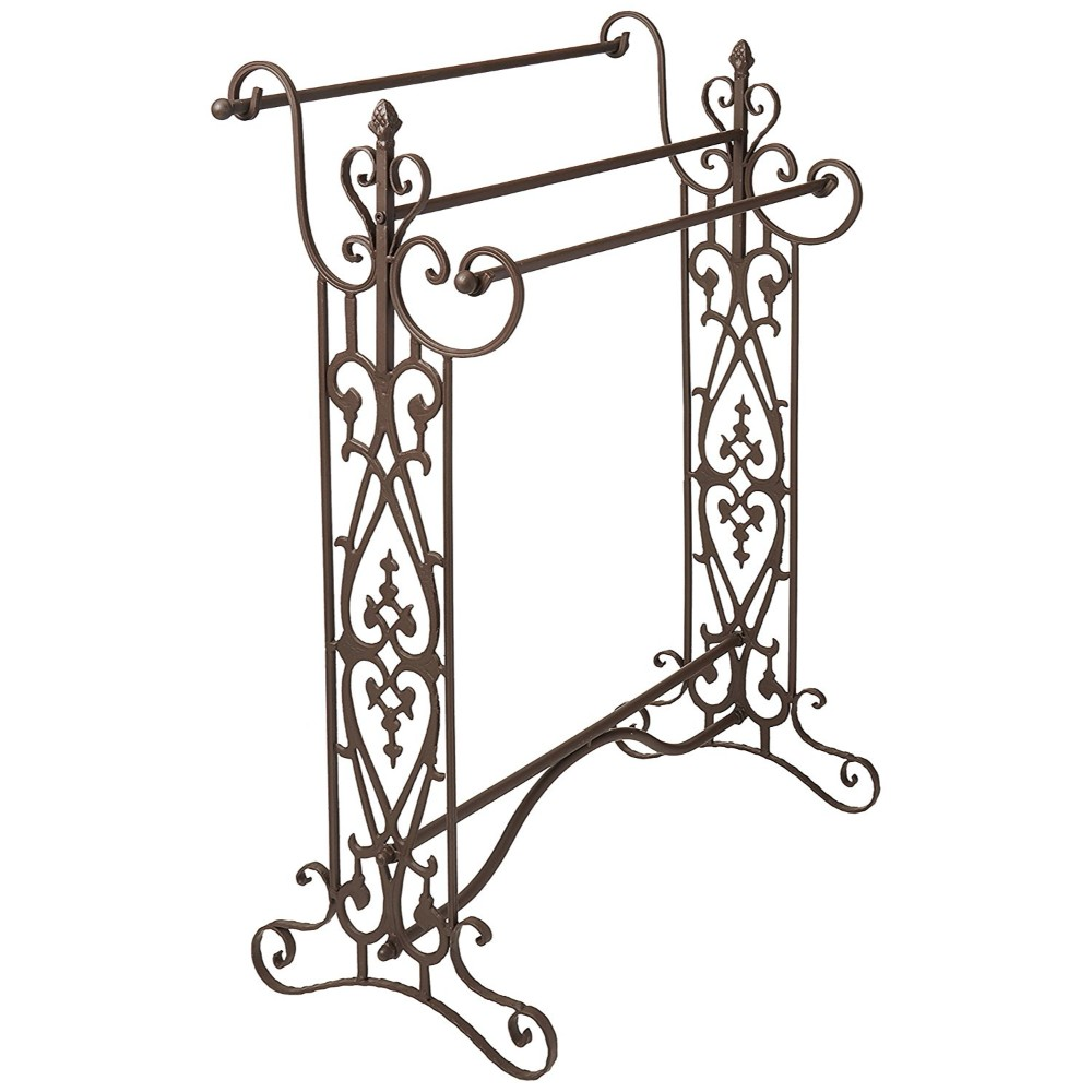 Benzara Quilt/Towel Rack With Open-Metal work Design, Brown