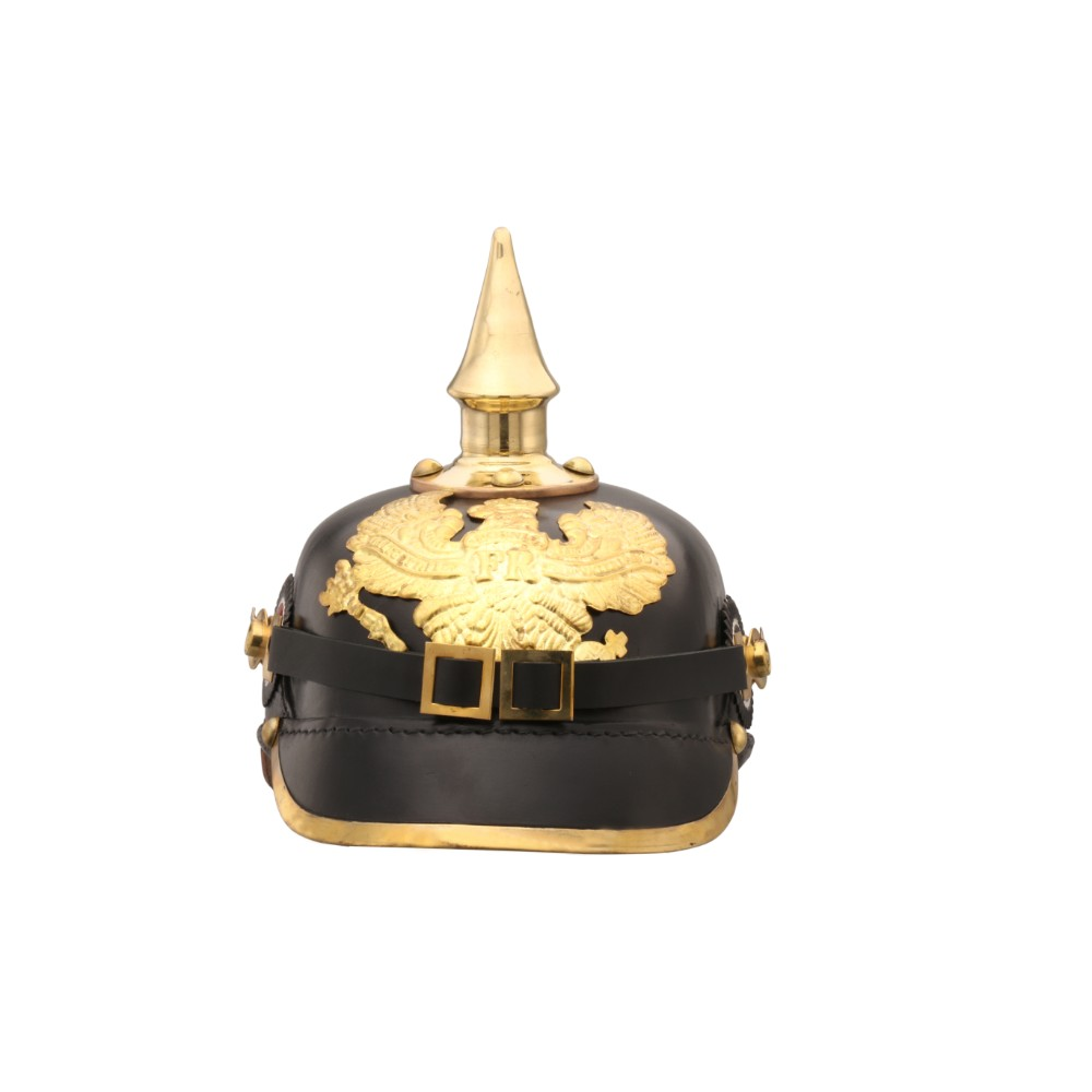 German Pickelhaube Officer Imperial Prussian Helmet, Black and Gold