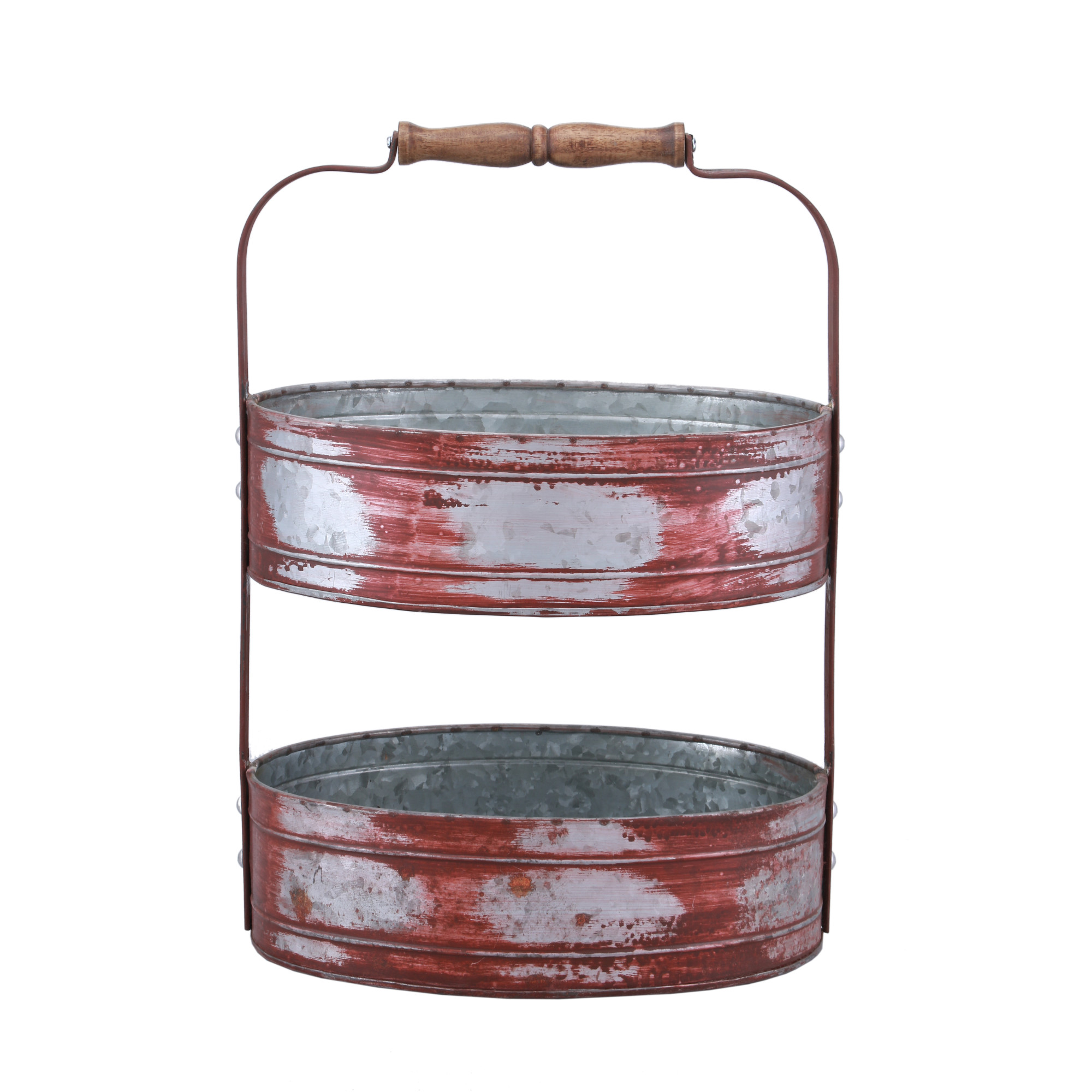 Country Style Two Tiered Galvanized Iron Tray, Red and Gray