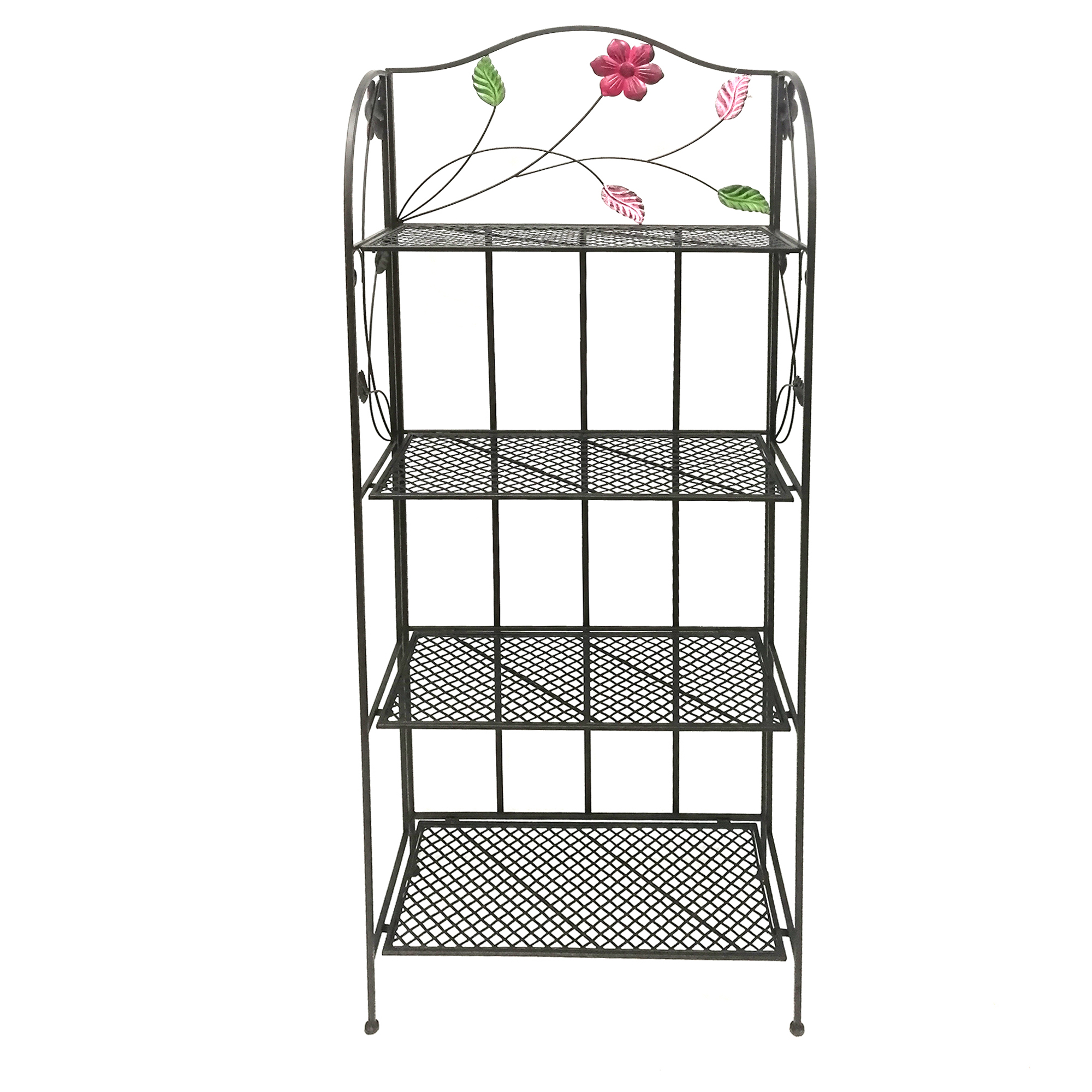 Four Tier Metal Foldable Bakers Rack with Flower Motifs, Black