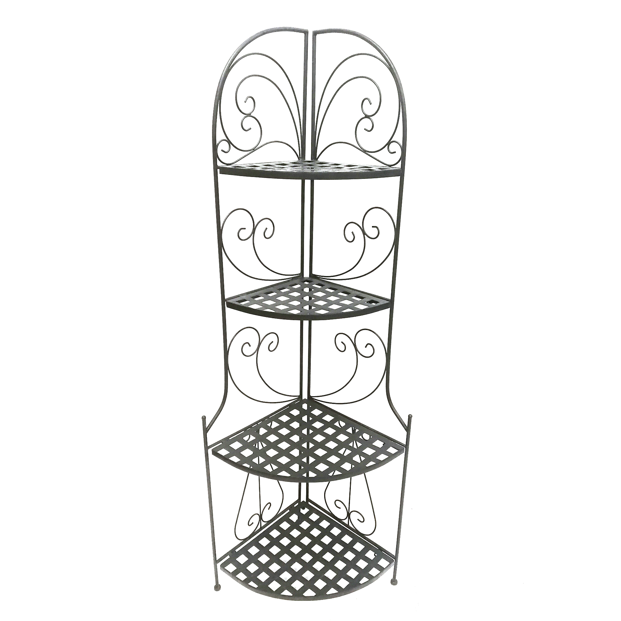 Foldable Black Metal Corner Bakers Rack with Grid Pattern Shelves