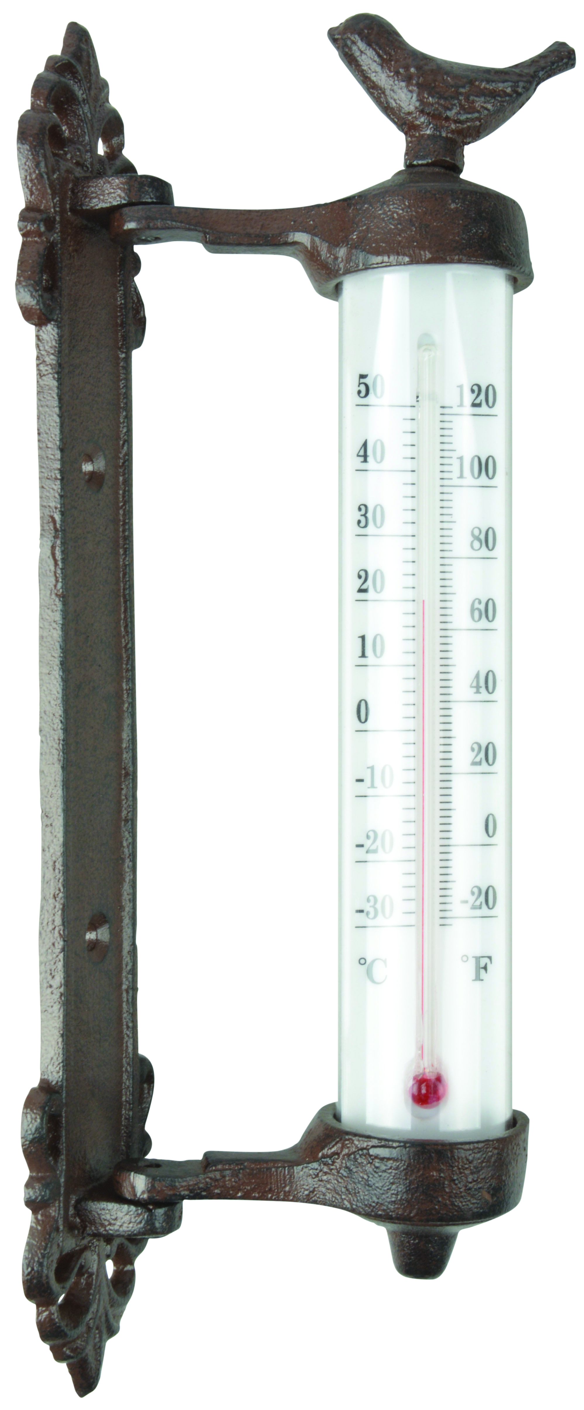 Bird Wall Thermometer Cast Iron Antique Brown