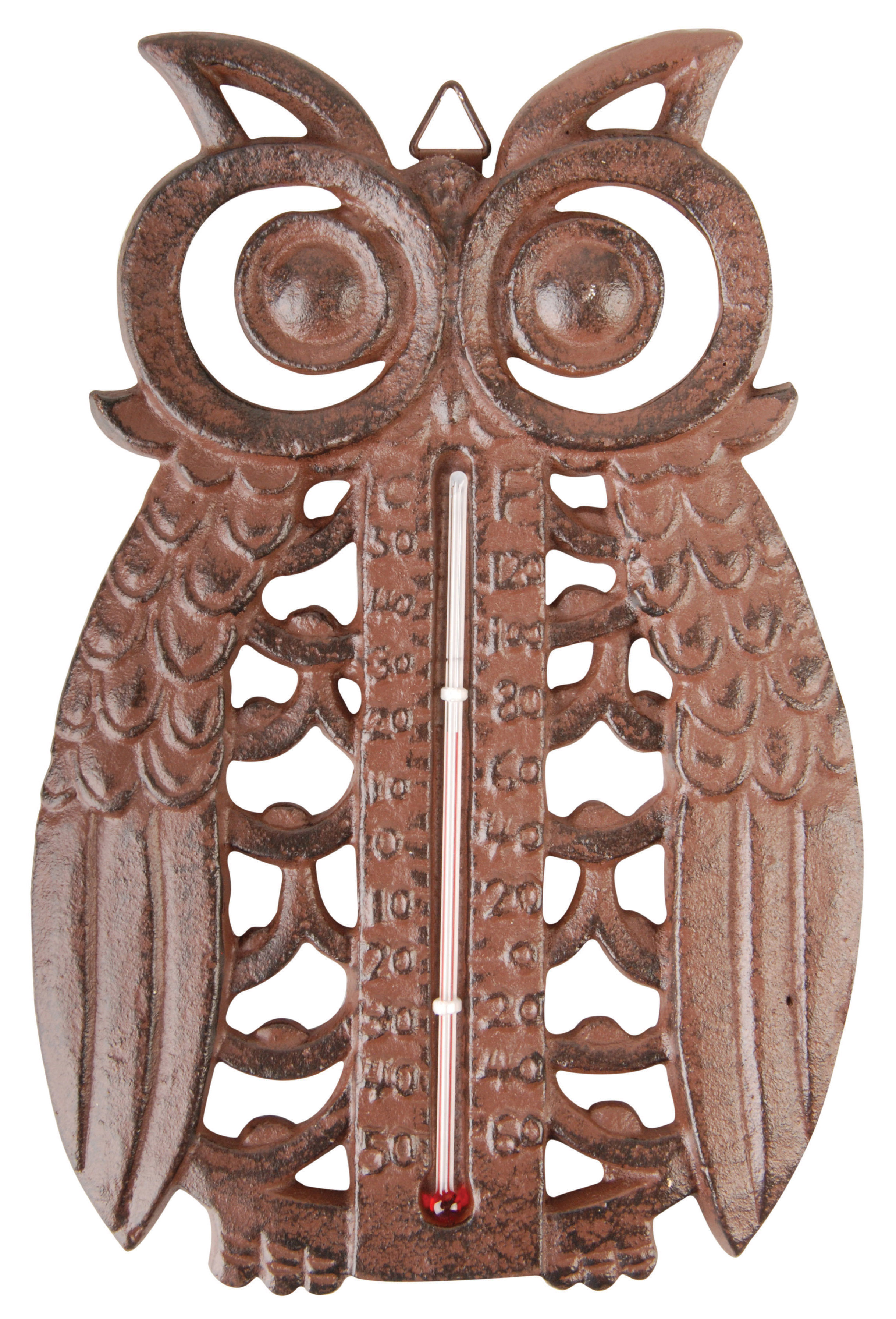 Owl Thermometer Cast Iron Antique Brown