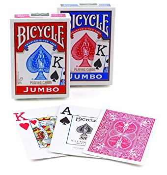 Bicycle Poker Jumbo Index, 12 Decks Red/Blue