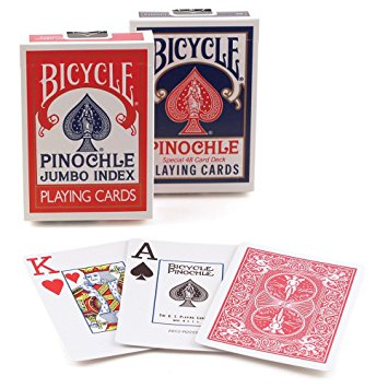 Bicycle Pinochle, Jumbo Index, 12 Decks Red/Blue