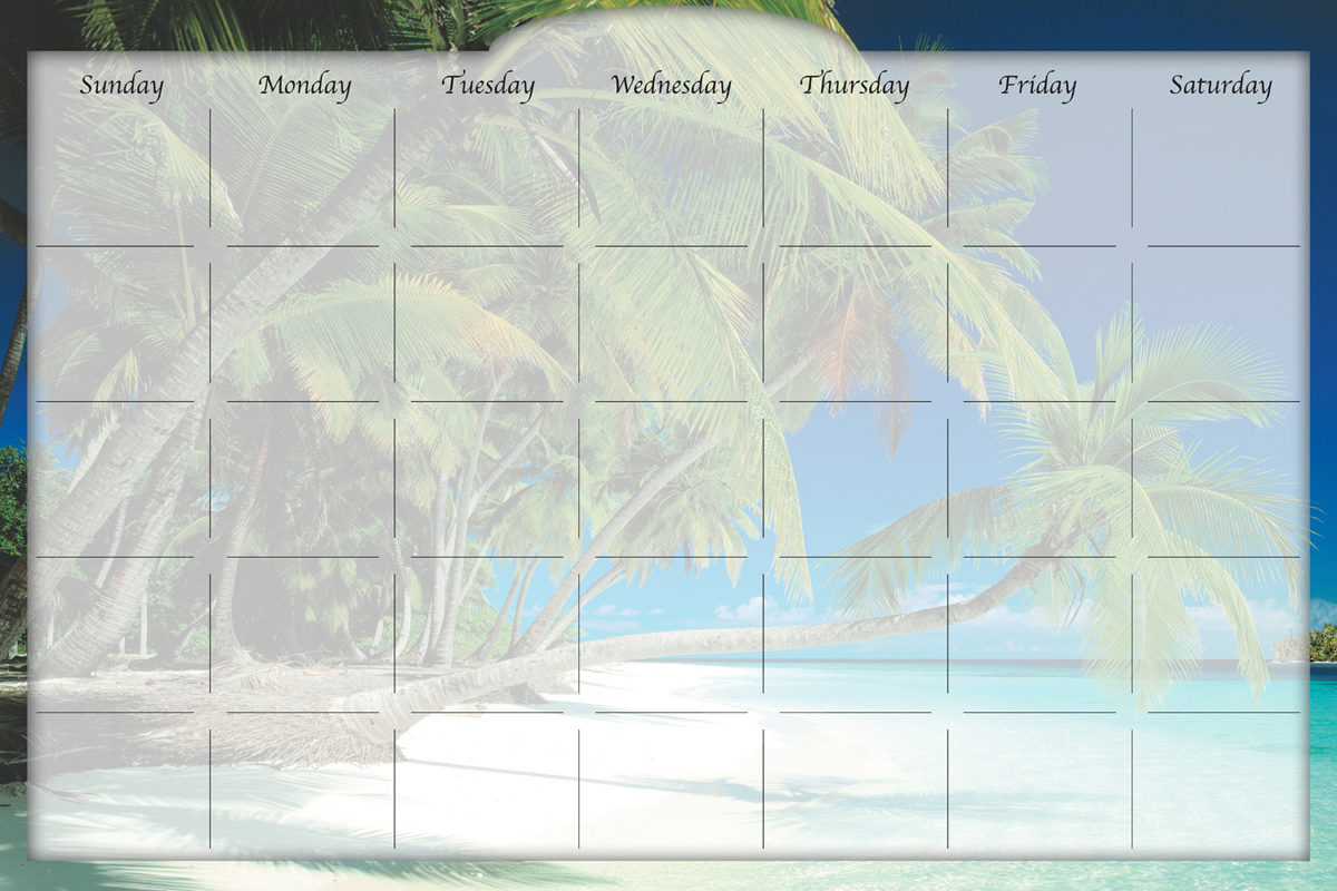 Biggies - Dry Erase Stickie Monthly Calendar-Beach Island