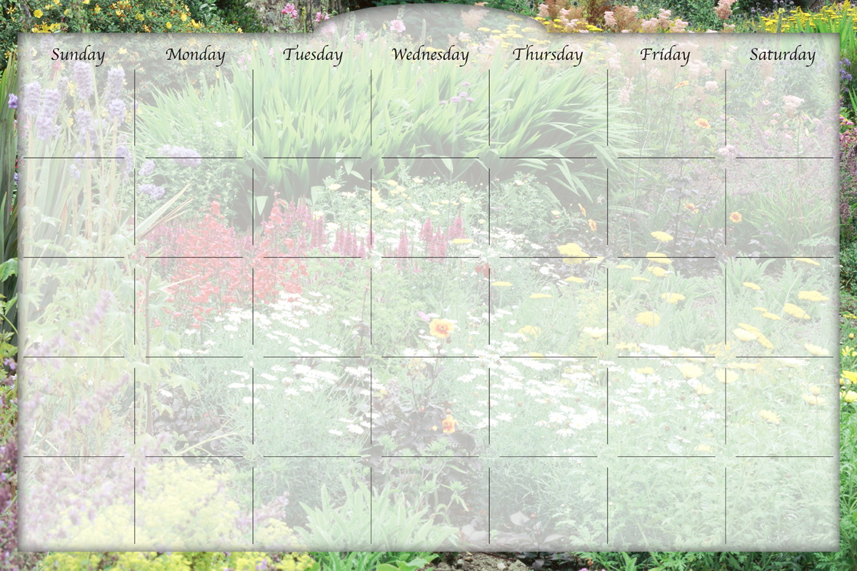 Biggies - Dry Erase Stickie Monthly Calendar-Flower Garden