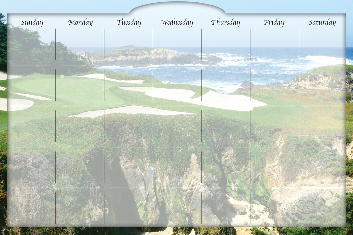 Biggies - Dry Erase Stickie Monthly Calendar-Golf Ocean