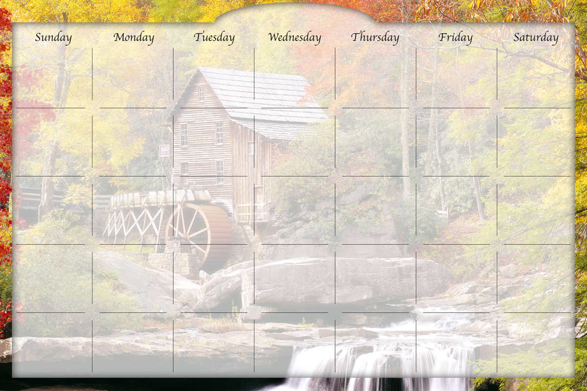 Biggies - Dry Erase Stickie Monthly Calendar-Water Wheel