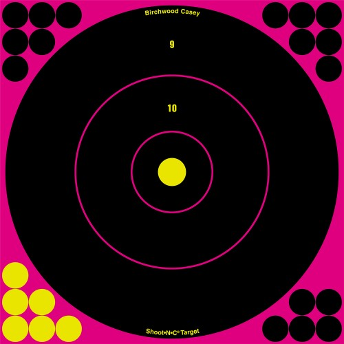 "Birchwood Casey Shoot-N-C Pink 12"" Bull's-Eye Target 12pk"