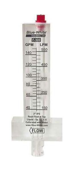 "Flowmeter, 2-1/2"" Pipe, 60-240 GPM, Blue White, Horizontal Pipe, Top Mount"