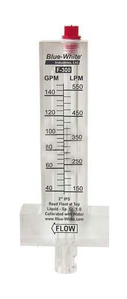 "Flowmeter, 3"" Pipe, 80-300 GPM, Blue White, Horizontal Pipe, Top Mount"