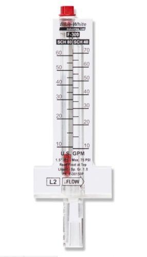 "Flowmeter, 8"" Pipe, 500-1900 GPM, Blue White, Horizontal Pipe, Top Mount"