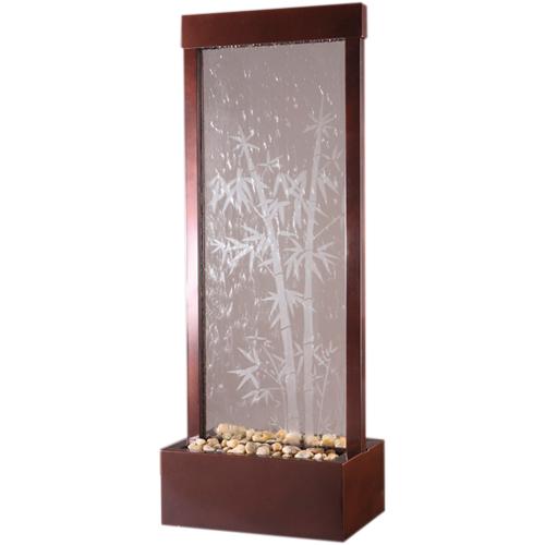 "Gardenfall Botanica CENTER Mount Fountain 48"" x 18"" Dark Copper w/Bamboo Etched Glass"