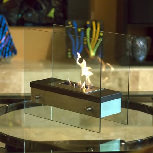 "Ardore Tabletop Fireplace 15.74"" x 18.5"" x 7.87"" Black Heat Resistant & Brushed Stainless Steel"