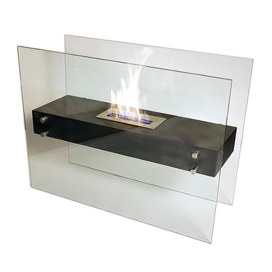 "La Strada Freestanding Fireplace 23.6""H x 31.4""W x 11.8""D Black Heat Resistant"