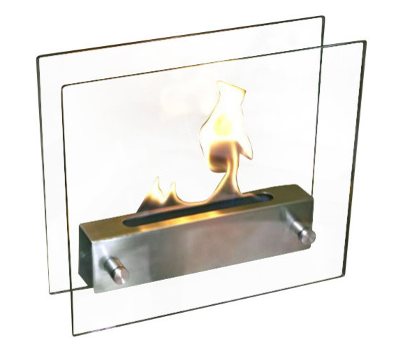 "Irradia Tabletop Fireplace 11.81""H x 13.77""W x 4.33""D Brushed Stainless Steel"