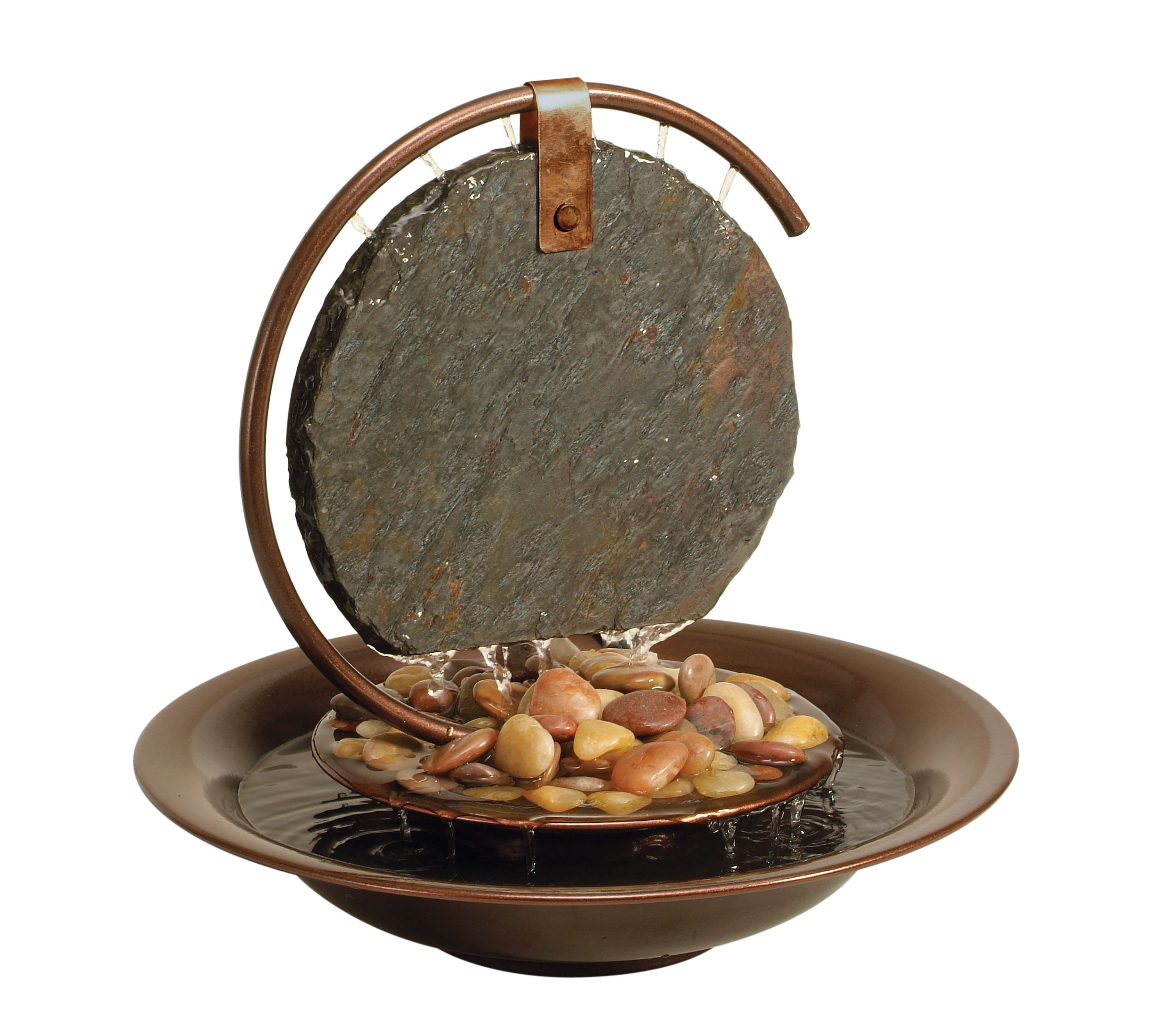 Small Moonshadow Tabletop Fountain, Dark Copper With Natural Slate