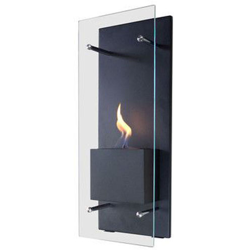 Cannello Wall Mounted Fireplace - Black