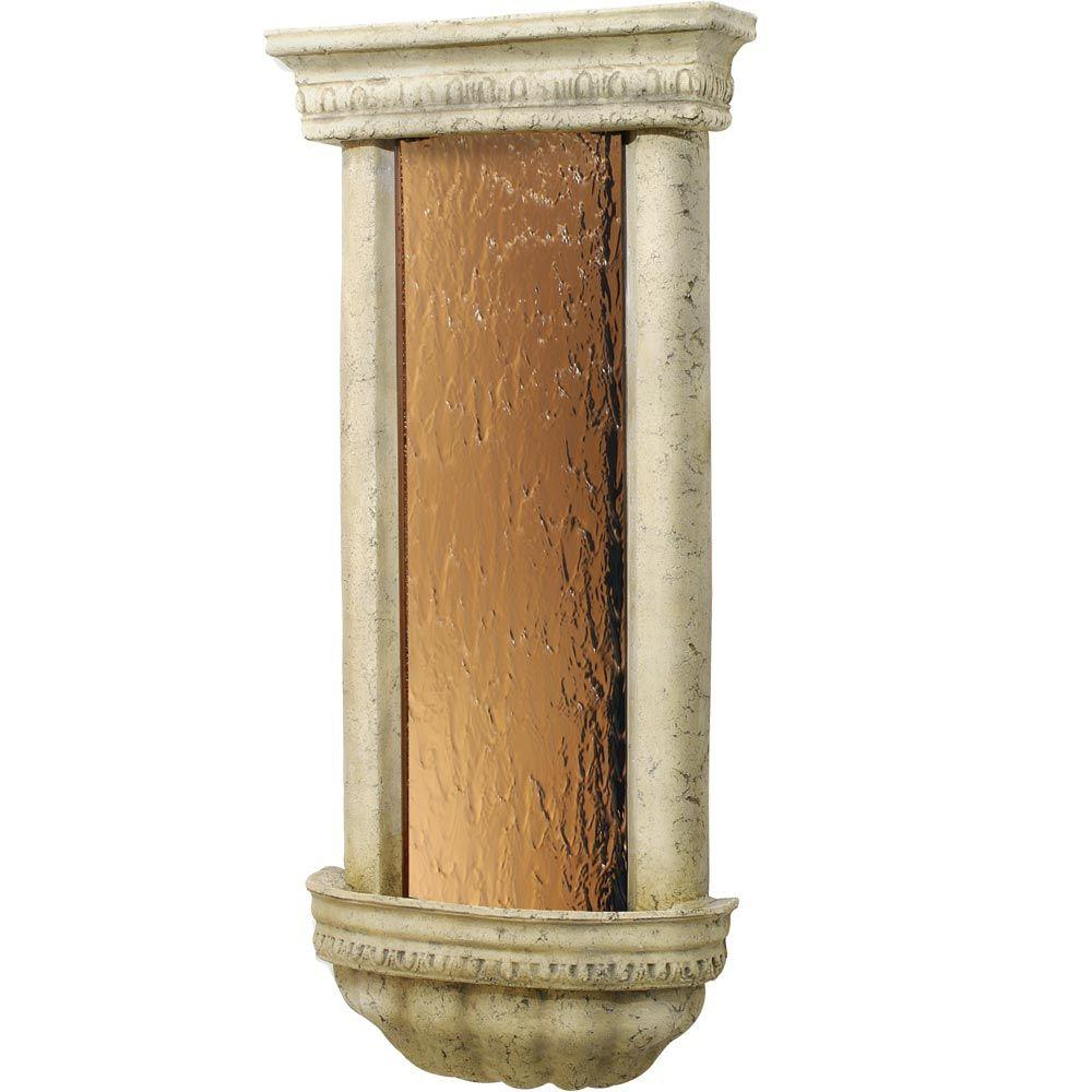 "Bellezza Wall Fountain 45""H x 20.75""W Ancient Stone w/Bronze Mirror"