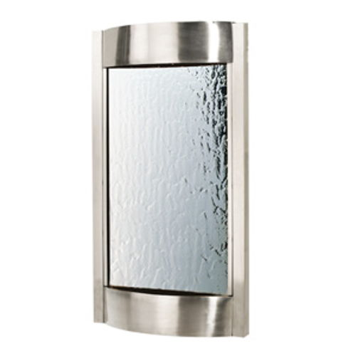 "36"" Contempo Alto Indoor Wall Fountain, Brushed Stainless with Silver Mirror"
