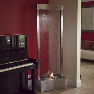"""Gardenfall CENTER Mount Fire+Water Fountain 72"""" x 24"""" Brushed Stainless w/Clear Glass"""