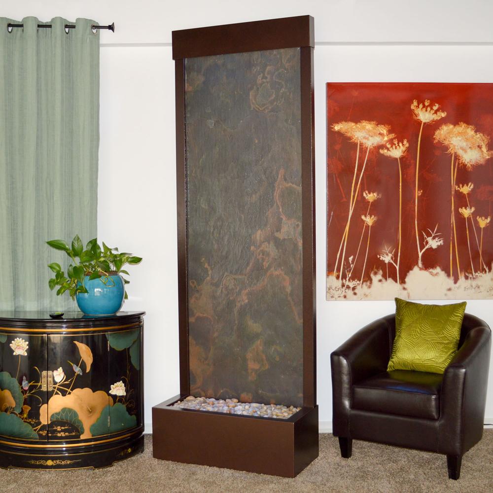 """Gardenfall Metaline REAR Mount Fountain 90"""" x 32"""" Coppervein w/Multi-Color Slate"""