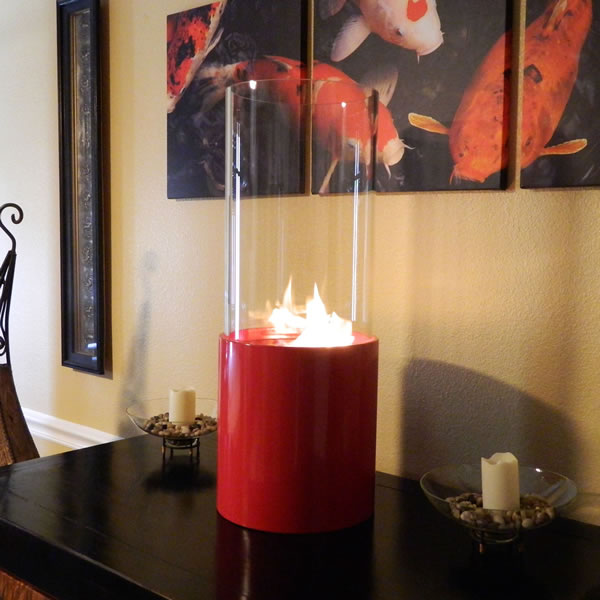 Nu-Flame Doppio Rouge Tabletop Glass Cylinder Fireplace Red