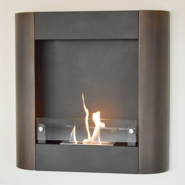 Focolare Muro Noce Wall Mounted Ethanol Fireplace, Dark Walnut