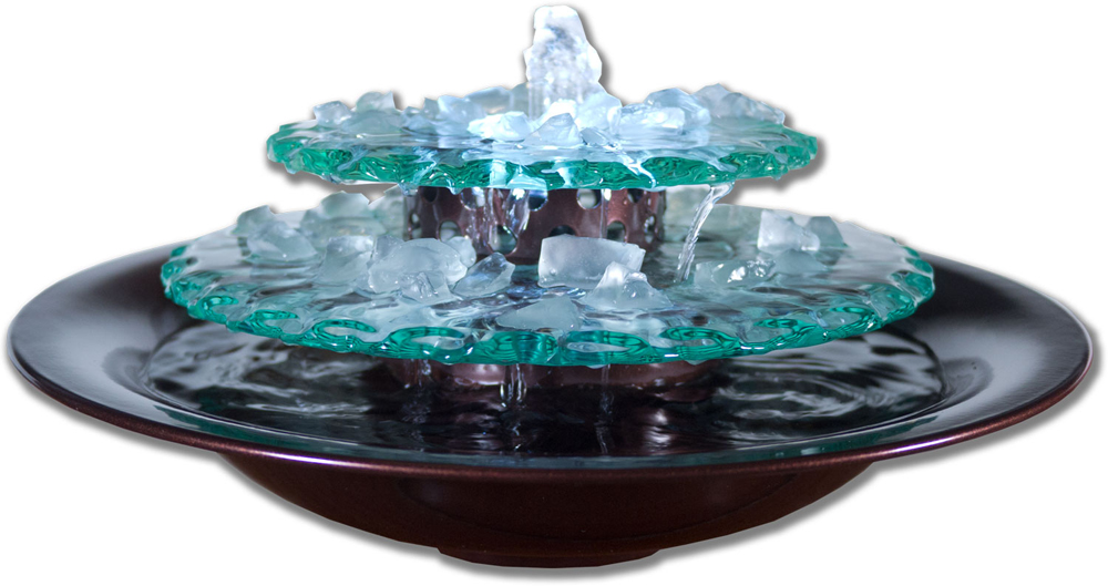 Moon Light Tabletop Fountain, Dark Copper with Scalloped Edge Glass