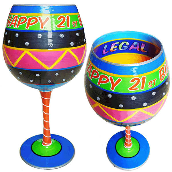IB Wine Glass Happy Birthday 21
