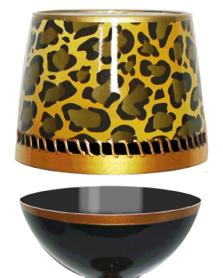 Stemless Wine Glass Deco Leopard Bottom's Up