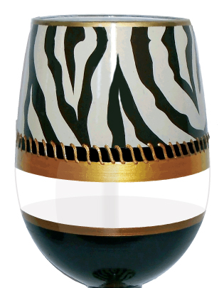 Stemless Wine Glass Deco Zebra Bottom's Up