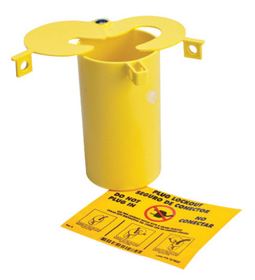 "Brady� Yellow 3"" X 5 1/2"" Thermoplastic Prinzing 3-In-1 Plug Lockout With (2) Sliding Top Lids"