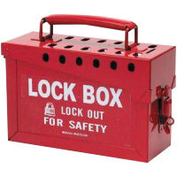 "Brady� Red 6"" X 9"" X 3 1/2"" Heavy Duty Steel Portable Group Lock Box Includes (13) Lock Holes On Lid And (1) Lockable Clasp On F"
