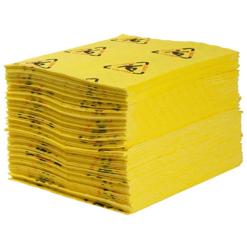 "Brady� 15"" X 19"" SPC� Yellow 1-Ply Meltblown Polypropylene Dimpled Perforated Full Size Heavy Weight Sorbent Pad"