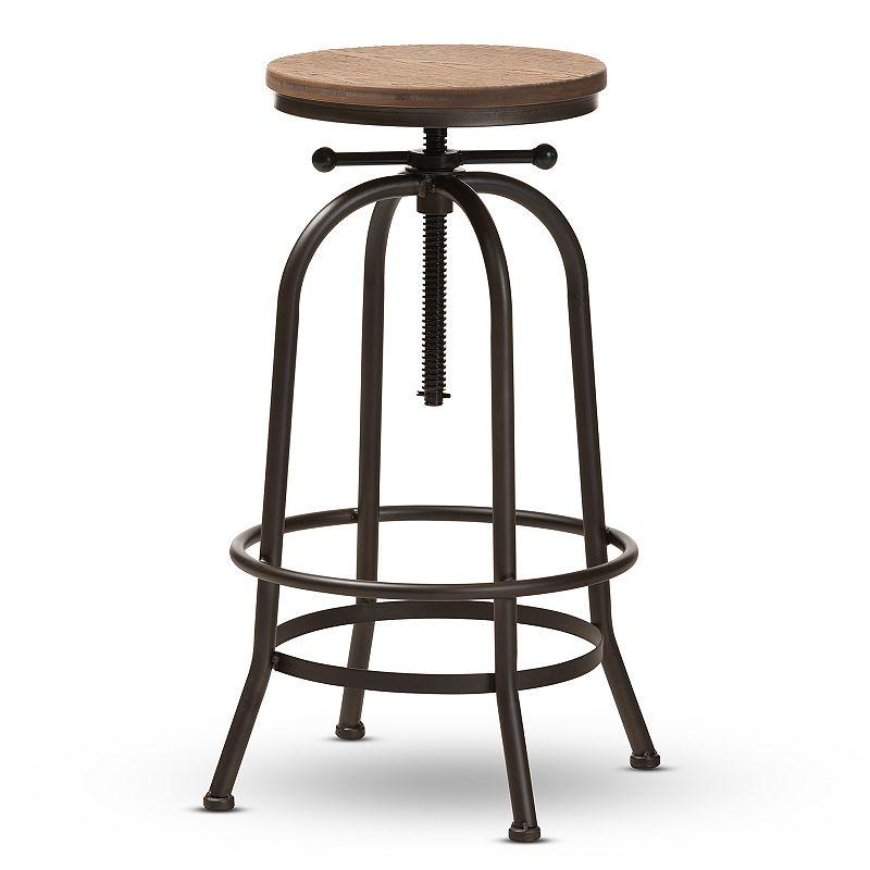 Baxton Studio Aline Vintage Rustic Industrial Style Wood and Rust-Finished Steel Adjustable Swivel Bar Stool
