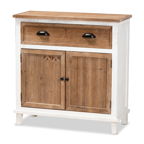 Baxton Studio Glynn Rustic Farmhouse Weathered Two-Tone White and Oak Brown Finished Wood 2-Door Storage Cabinet